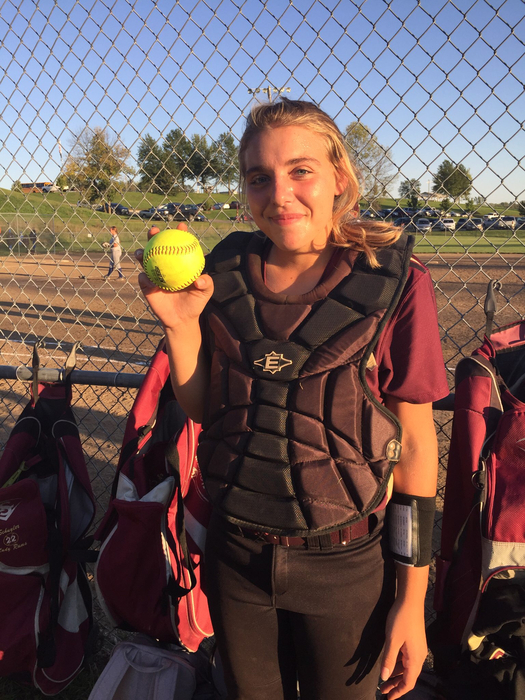 Marissa Buckallew with her home run ball!