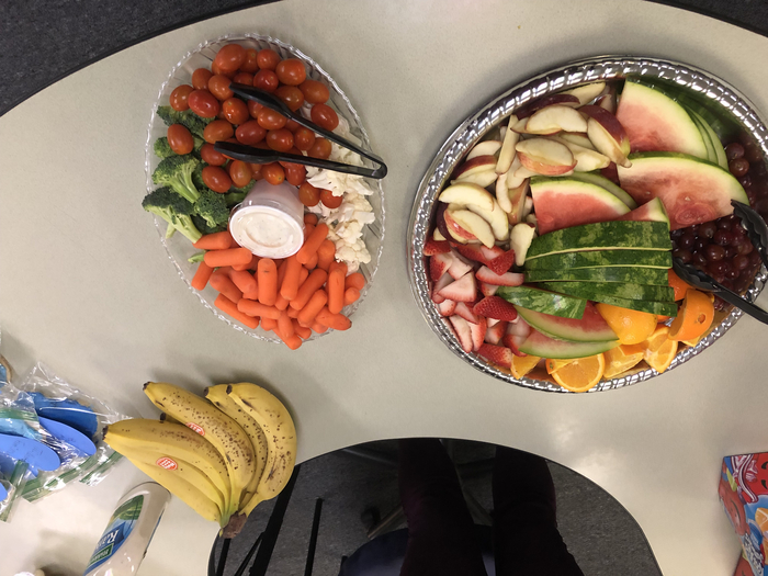 Fruit and veggie trays thanks to $5 party fees